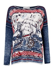 Oui Long Sleeve Ship Print Tee Multi Coloured Multi Coloured