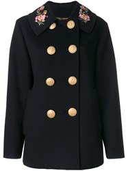Dolce And Gabbana Double Breasted Military Coat Women Polyester Spandex Elastane Angora Wool 44 Black