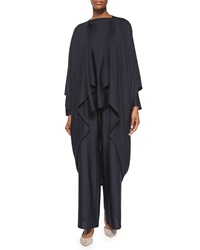 Eskandar Open Front Draped Cocoon Coat Navy