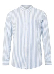 Topman Blue And White Stripe Button Down Casual Shirt Red