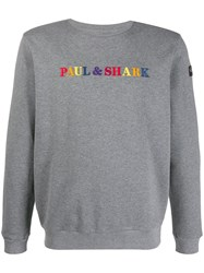 Paul And Shark Logo Embroidered Sweater Grey