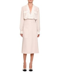 Bottega Veneta Silk Patch Pocket Blouse White