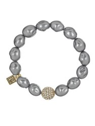 Laundry By Shelli Segal Faux Pearl Pave Stretch Bracelet Grey