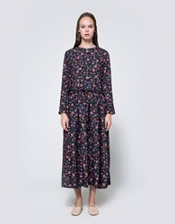 Edit Crew Neck Ls Pleat Midi Dress Red Floral