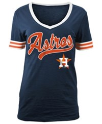 5Th And Ocean Women's Houston Astros Retro V Neck T Shirt Navy