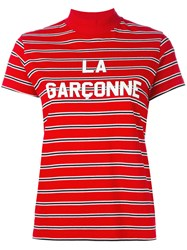 Harmony Paris Striped High Neck Top Red