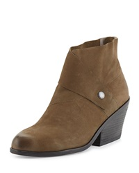 Tag Wrap Snap Leather Bootie Dark Olive Eileen Fisher