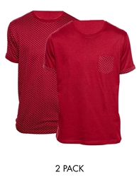 Brave Soul 2 Pack Polka Crew T Shirts Red