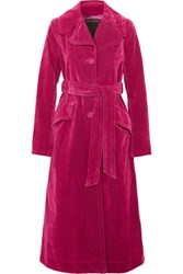 Marc Jacobs Cotton Blend Velvet Coat Magenta