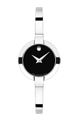 Movado 'Bela' Bangle Watch 25Mm Silver Black