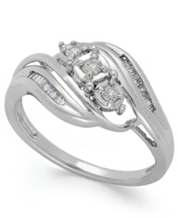 Macy's Diamond Three Stone Ring In 10K White Gold 1 5 Ct. T.W.