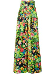 Rosie Assoulin Floral Print Flared Pants Women Cotton Viscose 2 Green