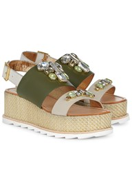 Sanchita Green Rhinestone Flatform Tonga Sandals Print