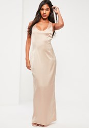 Missguided Nude Silky Scoop Neck Column Maxi Dress