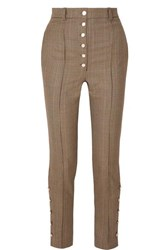 Hillier Bartley Button Embellished Checked Wool Skinny Pants Brown