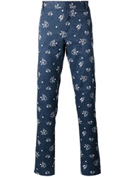 Paul And Joe Floral Print Trousers Blue