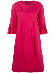 Odeeh Pleated Detail Dress Pink Purple
