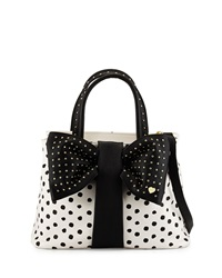 Betsey Johnson Bow Tie Polka Dot Shopper Tote Bag Black White