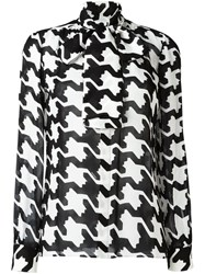 Dsquared2 Geometric Print Pussybow Blouse Black