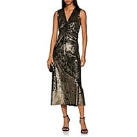 Masscob Metallic Velvet Sheath Dress Neutral