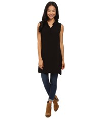Bobeau Clover Sleeveless Woven Tunic Black Women's Blouse