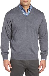 Men's Peter Millar Merino Wool V Neck Sweater Charcoal