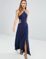 Pixie And Diamond Cut Out Maxi Dress Navy
