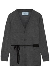 Prada Belted Wool Cardigan Anthracite