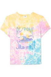 Solid And Striped Re Done The Venice Printed Tie Dyed Cotton Jersey T Shirt Pink