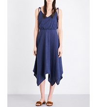 Mih Jeans Petal Cotton And Linen Blend Midi Dress Navy