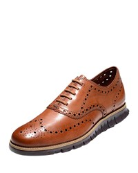 Cole Haan Zerogrand Leather Wing Tip Oxford British Tan
