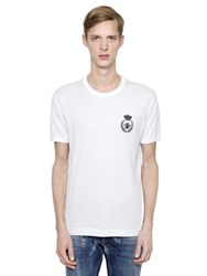 Dolce And Gabbana Bee Embroidered Cotton Jersey T Shirt