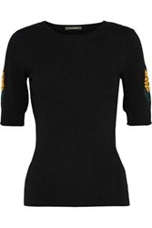 Zac Posen Embroidered Cotton Silk And Cashmere Blend Sweater Black
