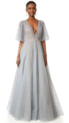 Marchesa Glitter Tulle Gown Grey