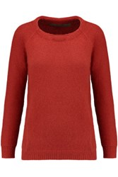 Enza Costa Angora And Wool Blend Sweater Red