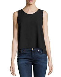 Casual Couture Sleeveless Chiffon Blouse W Pleated Back Black
