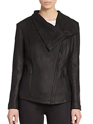T Tahari Trisha Leather Drape Jacket Black