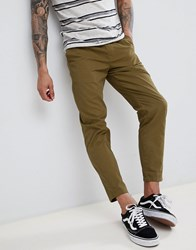 D Struct Elastic Waist Cropped Chino Trousers Green