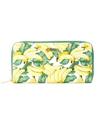 Muveil Banana Print Zip Up Wallet White