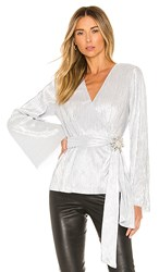 House Of Harlow 1960 X Revolve Vina Blouse In Metallic Silver.