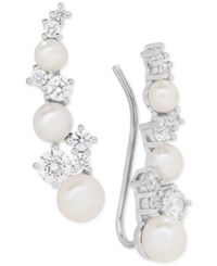 Arabella Cultured Freshwater Pearl 3 1 2 5 1 2Mm And Swarovksi Zirconia Ear Climbers In Sterling Silver Only At Macy's White