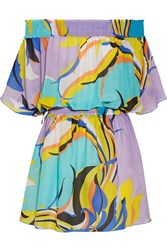 Emilio Pucci Fiore Maya Off The Shoulder Printed Cotton And Silk Blend Voile Mini Dress Turquoise