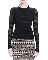 Alexander Mcqueen Long Sleeve Ruched Knit Top Black