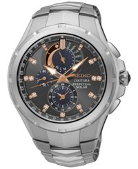 Seiko Men's Solar Chronograph Coutura Diamond Accent Stainless Steel Bracelet Watch 44Mm Ssc561 Silver