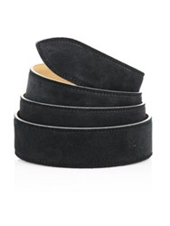 Corthay French Calf Suede And Leather Belt Black