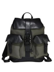 Salvatore Ferragamo Two Tone Leather Backpack Fango