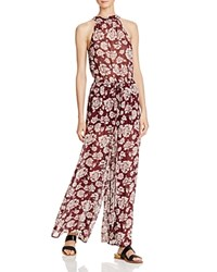 Band Of Gypsies Romantic Floral High Neck Jumpsuit Burgundy Ivory