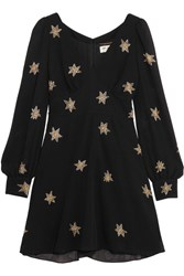 Saint Laurent Embellished Silk Georgette Mini Dress Black