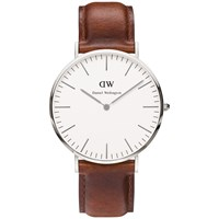 Daniel Wellington 0207Dw Men's Classic St. Mawes Leather Strap Watch Brown White