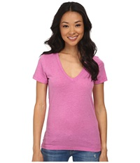 Hurley Solid Perfect V Neck Tee Heather Fuchsia Flash Women's T Shirt Pink